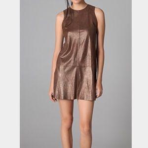 Vince sparkly leather mini shift dress